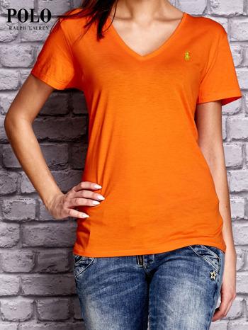 RALPH LAUREN Pomarańczowy t-shirt z trójkątnym dekoltem                                  zdj.                                  1