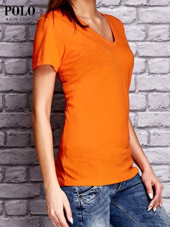 RALPH LAUREN Pomarańczowy t-shirt z trójkątnym dekoltem                                  zdj.                                  2