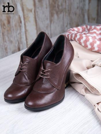 ROCCOBAROCCO Brązowe wiązane botki true leather skórzane oxfordki                                  zdj.                                  1
