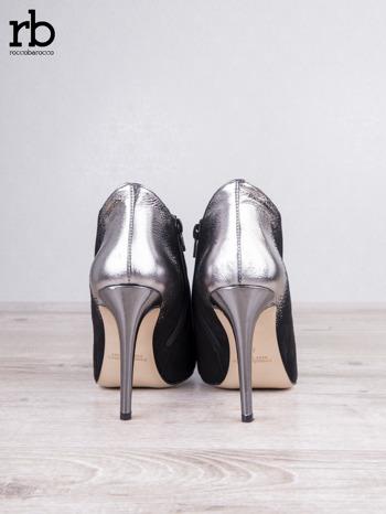 ROCCOBAROCCO Czarnosrebrne botki dual leather na szpilkach w szpic                                  zdj.                                  4