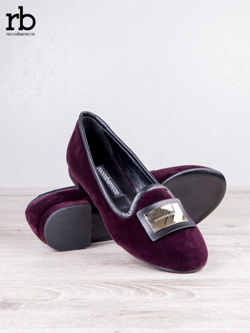 ROCCOBAROCCO bordowe baleriny shammy-leather z weluru                                  zdj.                                  4