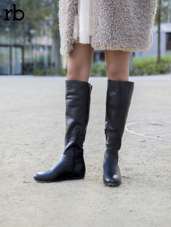 ROCCOBAROCCO czarne skórzane kozaki genuine leather na traktorowej podeszwie do kolan                                  zdj.                                  4