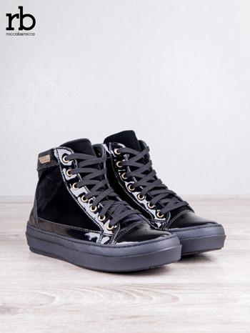 ROCCOBAROCCO czarne welurowe sneakersy dual texture z lakierowanymi wstawkami