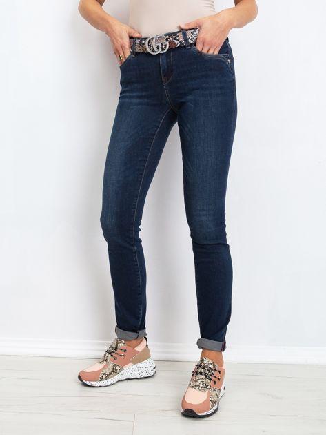 RUE PARIS Ciemnoniebieskie jeansy Treat                              zdj.                              1