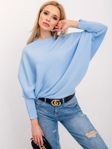 RUE PARIS Jasnoniebieski sweter Pose