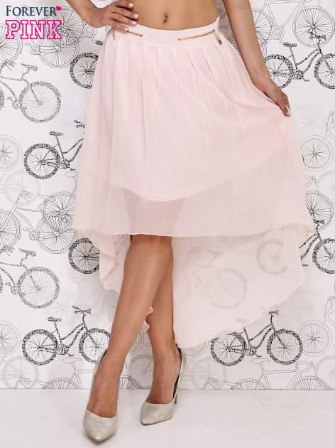 Różowa asymetryczna spódnica z suwakami                                  zdj.                                  2