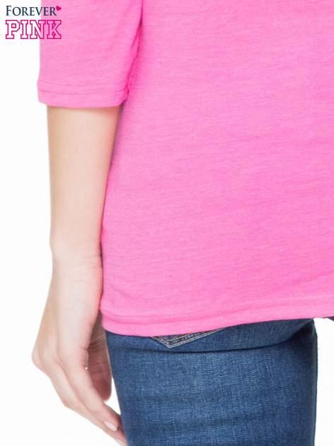 Różowa basicowa gładka bluzka z rękawem 7/8                                  zdj.                                  5