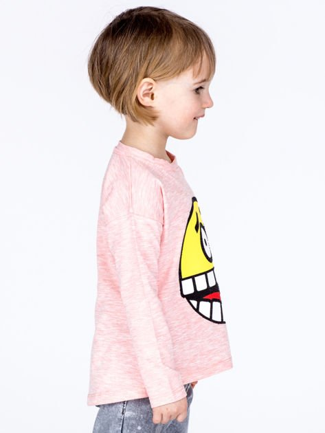 Różowa bawełniana bluzka dziecięca z zabawną emotikonką                              zdj.                              4