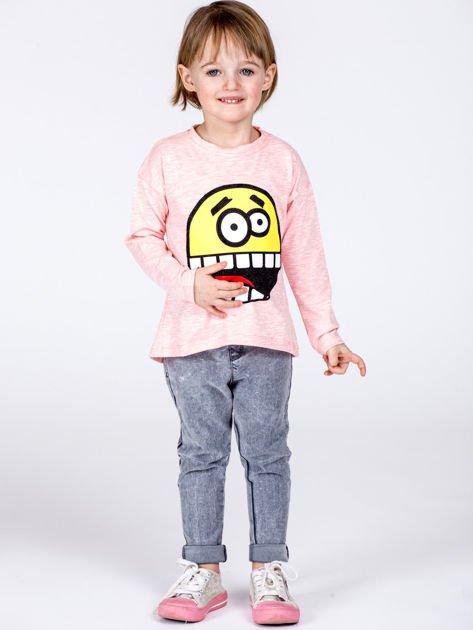 Różowa bawełniana bluzka dziecięca z zabawną emotikonką                              zdj.                              7