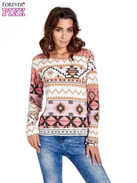 Różowa bluza w azteckie wzory z gipiurą