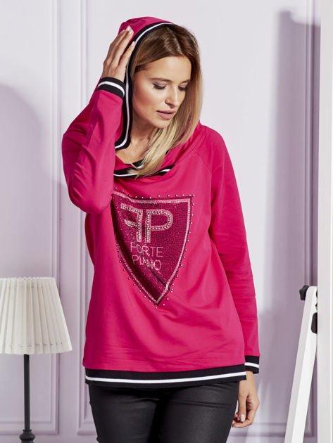 Różowa bluza z herbem z dżetów                                   zdj.                                  7