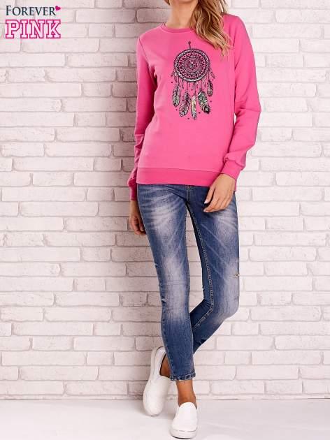Różowa bluza z nadrukiem łapacza snów                                  zdj.                                  2