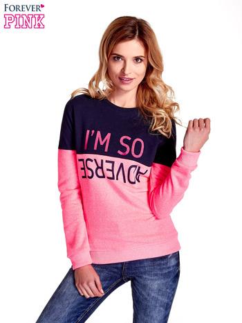 Różowa bluza z napisem I'M SO ADVERSE                                  zdj.                                  1