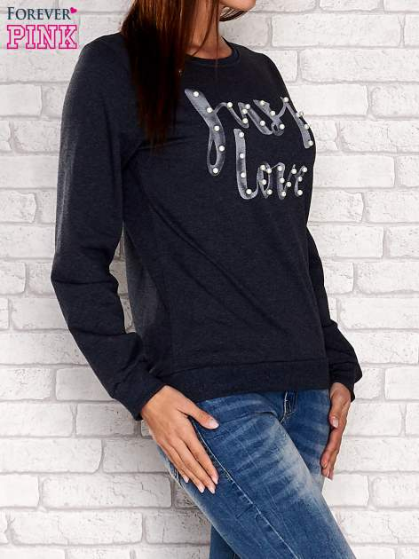 Różowa bluza z napisem JUST LOVE i perełkami                                  zdj.                                  1