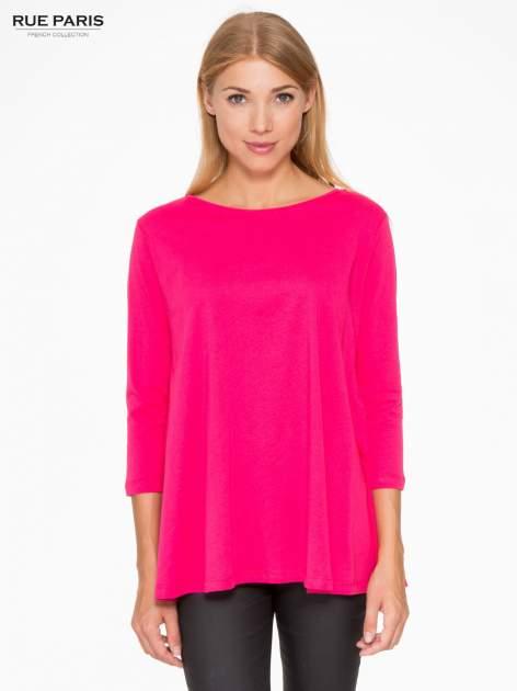 Różowa bluzka o rozkloszowanym kroju z rękawem 3/4                                  zdj.                                  1