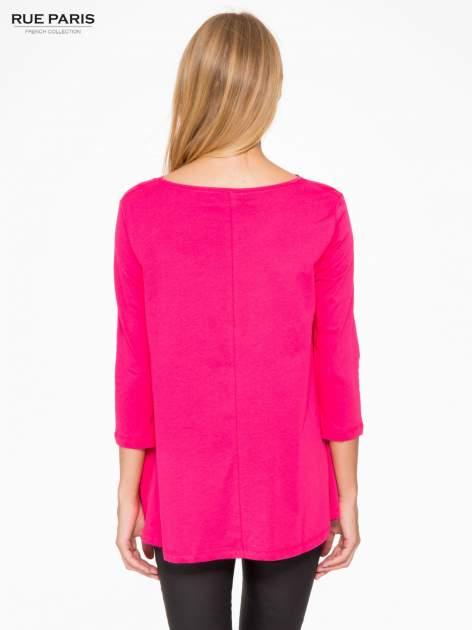 Różowa bluzka o rozkloszowanym kroju z rękawem 3/4                                  zdj.                                  4