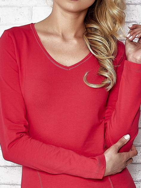 Różowa bluzka sportowa z dekoltem V                                  zdj.                                  5