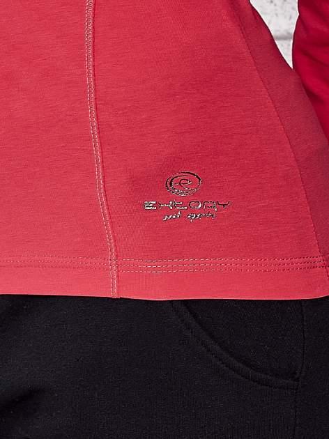 Różowa bluzka sportowa z dekoltem V                                  zdj.                                  6