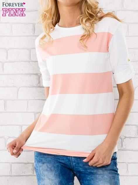 Różowa bluzka w szerokie pasy                                  zdj.                                  1