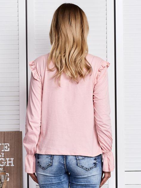 Różowa bluzka z cekinowymi kwiatami                              zdj.                              2