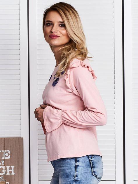 Różowa bluzka z cekinowymi kwiatami                              zdj.                              5