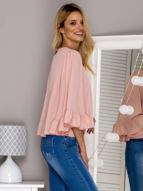 Różowa bluzka z szerokimi rękawami                                  zdj.                                  3