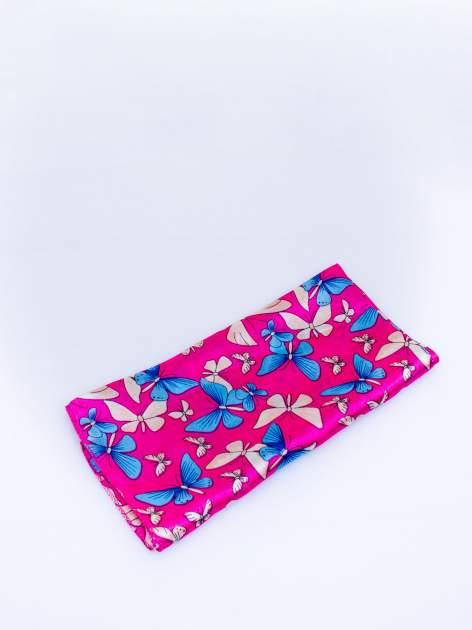 Różowa chusta apaszka w motyle                                  zdj.                                  3