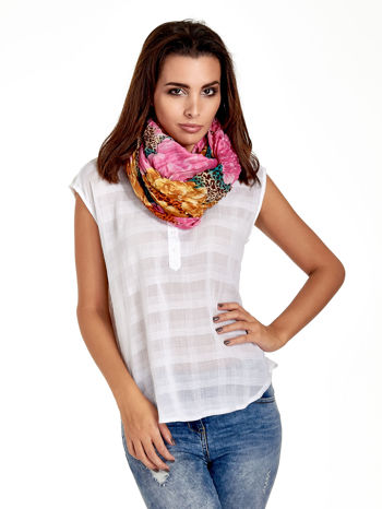 Różowa chusta z motywem panterki                                  zdj.                                  1