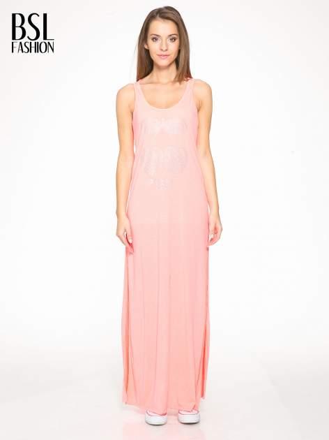 Różowa długa sukienka maxi z aplikacją z dżetów