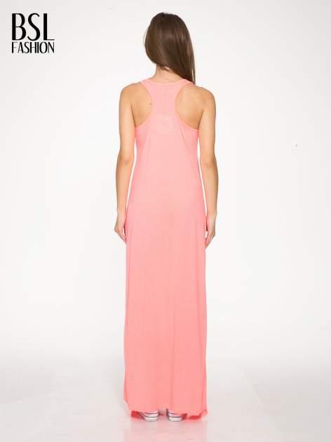 Różowa długa sukienka maxi z aplikacją z dżetów                                  zdj.                                  3