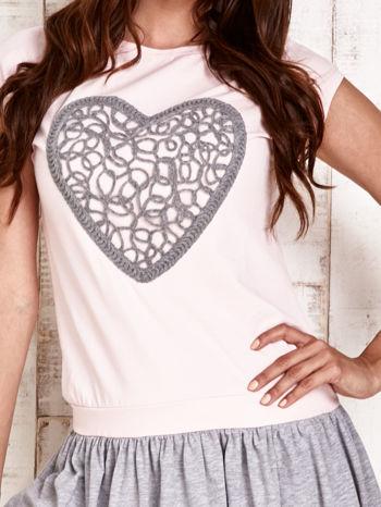 Różowa dresowa sukienka tenisowa z sercem                                  zdj.                                  5