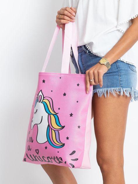 Różowa duża torba z jednorożcem                              zdj.                              3