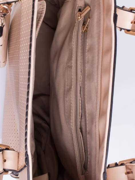 Różowa dziurkowana torba shopper z portfelem                                  zdj.                                  4