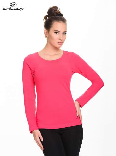 Różowa gładka bluzka sportowa z dekoltem U PLUS SIZE                                  zdj.                                  1