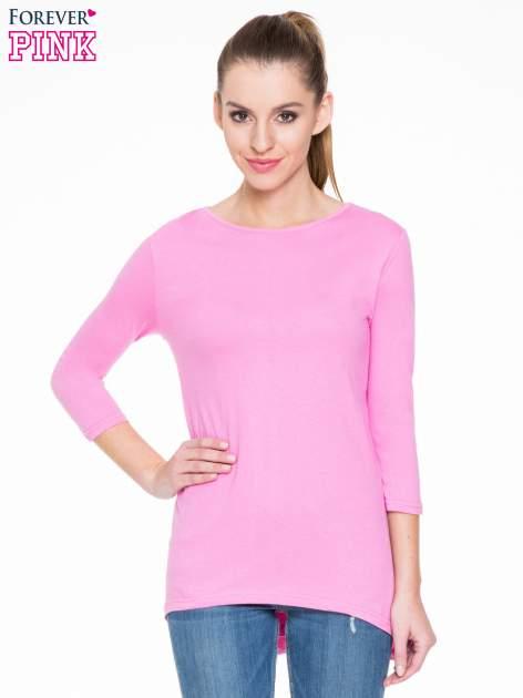 Różowa gładka bluzka z dłuższym tyłem