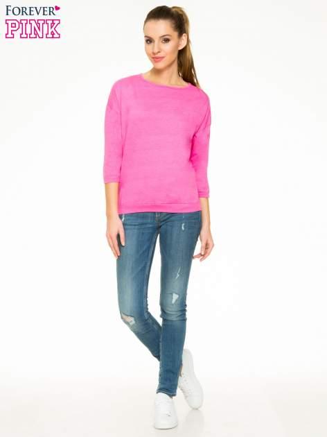 Różowa gładka bluzka z luźnymi rękawami 3/4                                  zdj.                                  2