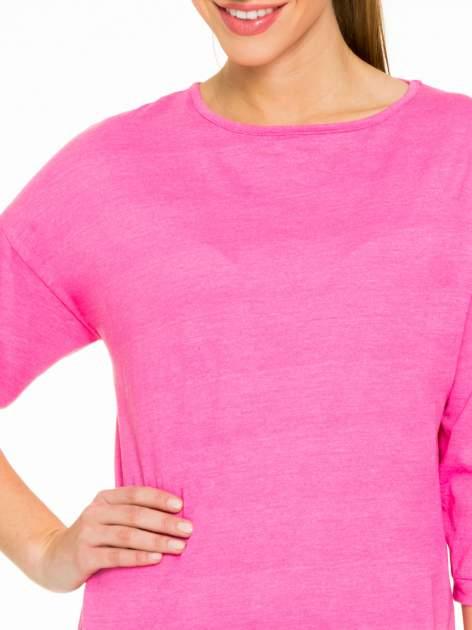 Różowa gładka bluzka z luźnymi rękawami 3/4                                  zdj.                                  5