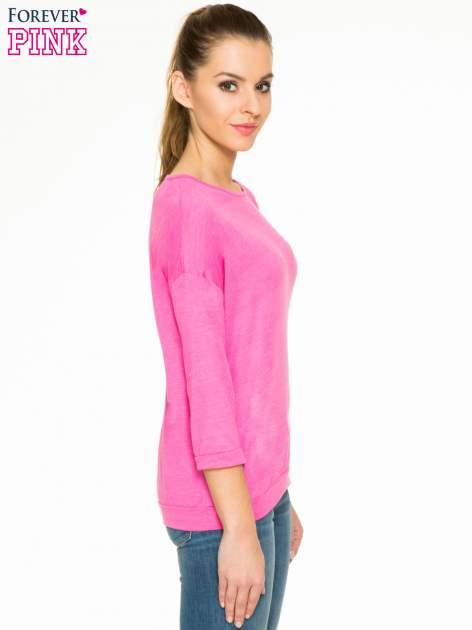 Różowa gładka bluzka z luźnymi rękawami 3/4                                  zdj.                                  3