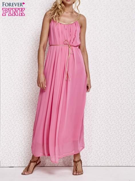 Różowa grecka sukienka maxi ze złotym paskiem                                  zdj.                                  1