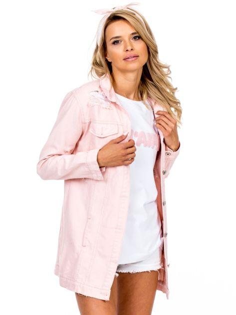 Różowa jeansowa kurtka z rozdarciami                              zdj.                              1