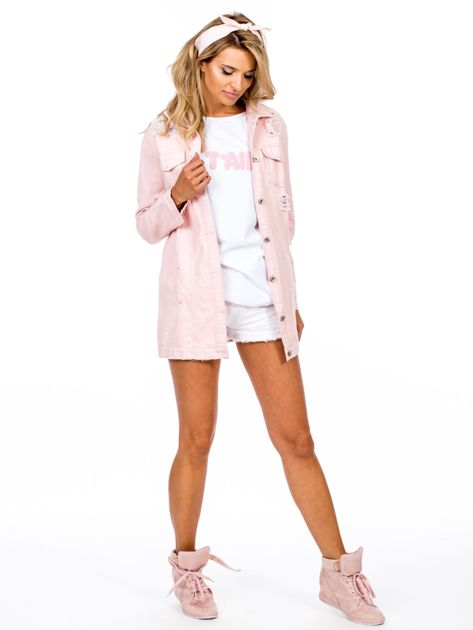 Różowa jeansowa kurtka z rozdarciami                              zdj.                              4