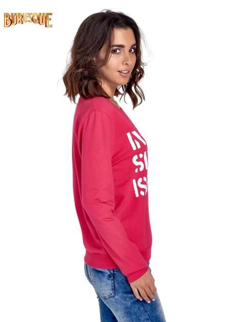 Różowa klasyczna bluza damska z napisem IN LIFE SIMPLE IS BEST                                  zdj.                                  3