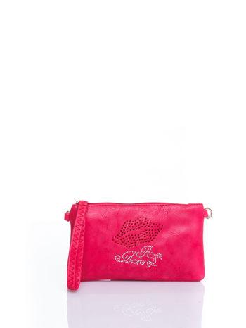 Różowa kopertówka z dżetami motyw ust