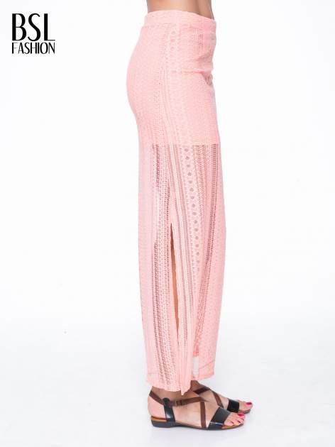 Różowa koronkowa spódnica maxi z rozporkiem                                  zdj.                                  3