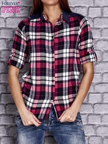 Różowa koszula w kolorową kratę z denimową wstawką                                  zdj.                                  1