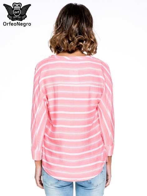Różowa koszula w paski z rękawem 3/4                                  zdj.                                  4