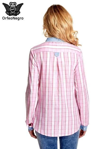 Różowa koszula w pasy z kołnierzykiem, mankietami i kieszonką z jasnego denimu                                  zdj.                                  4