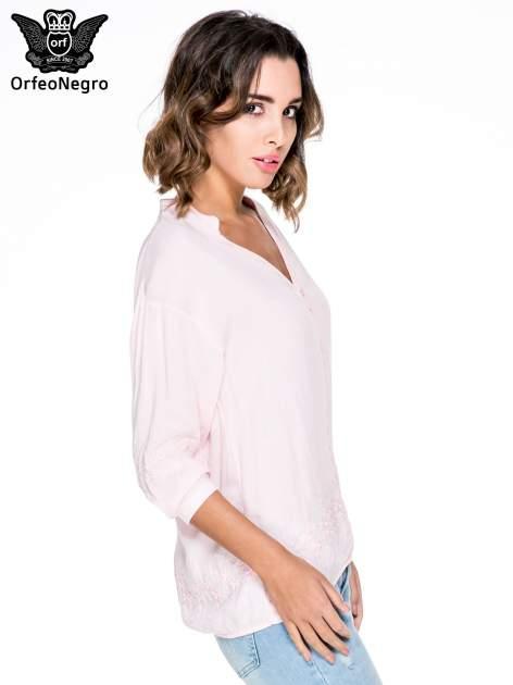 Różowa koszula w stylu boho z kwiatowym haftem                                  zdj.                                  3