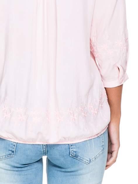 Różowa koszula w stylu boho z kwiatowym haftem                                  zdj.                                  5
