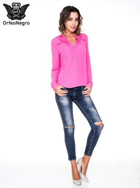Różowa koszula z ażurowaniem na górze                                  zdj.                                  2